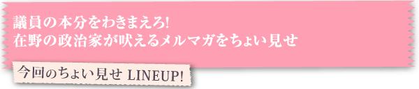 今回のちょい見せ LINEUP!